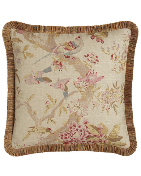 "Arielle Floral/Bird Pillow, 20""Sq."