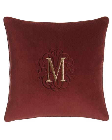 "Arielle Wine Velvet Pillow with Monogram, 20""Sq."