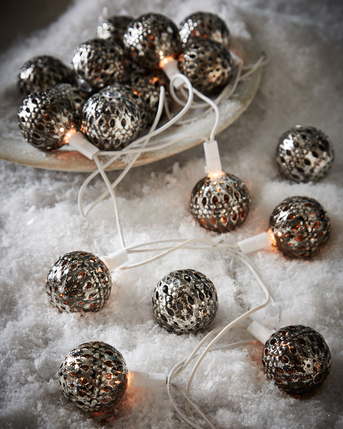 silver tone round christmas light covers set of 20