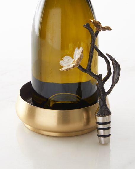 Michael Aram Dogwood Wine Coaster & Bottle Stopper