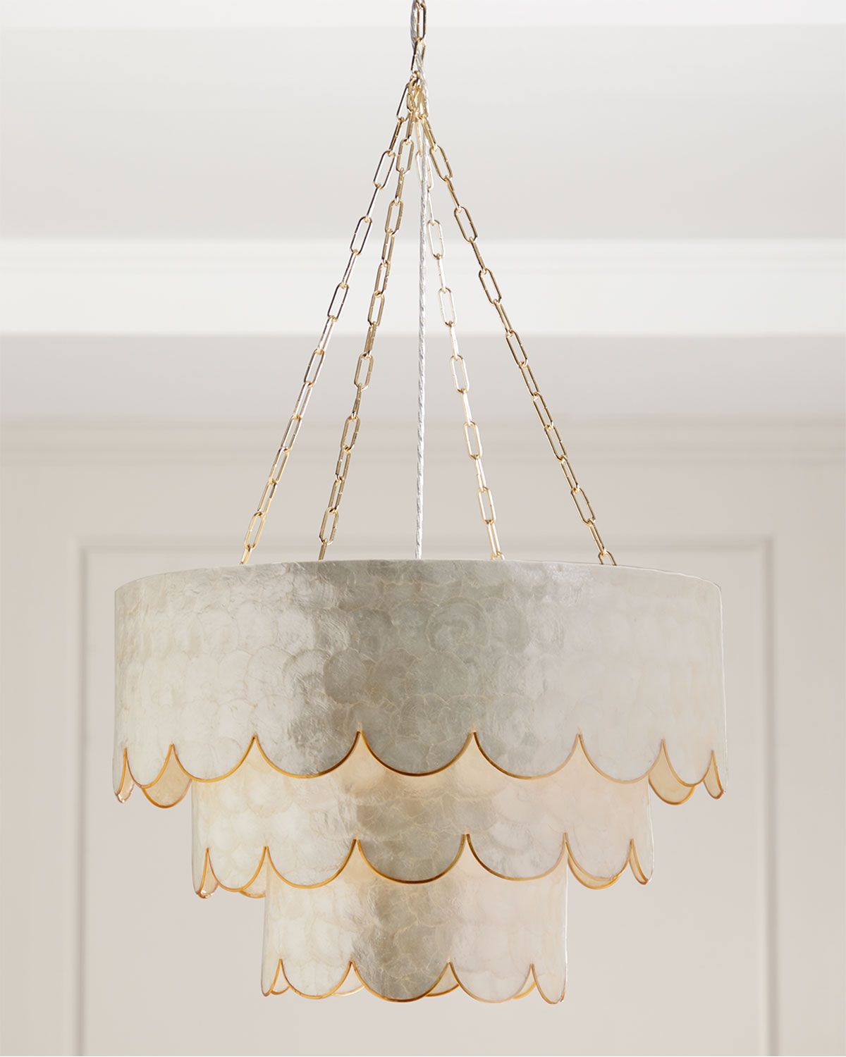 Neiman marcus lighting Outdoor Neiman Marcus Threetiered Scalloped Capiz 3light Pendant Neiman Marcus