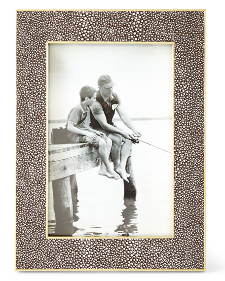 AERIN Classic Chocolate Faux-Shagreen Picture Frame, 4