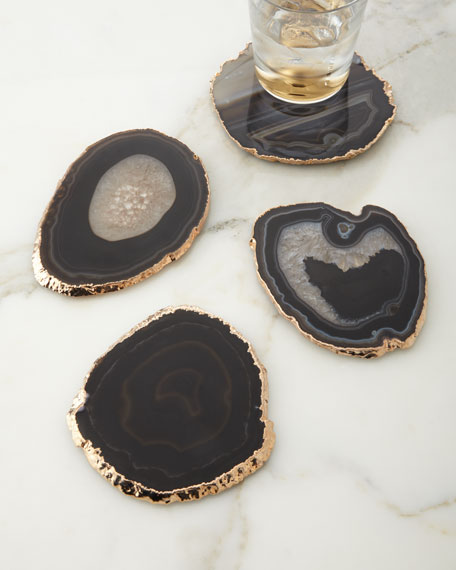 AERIN Black Agate Coasters, 4-Piece Set