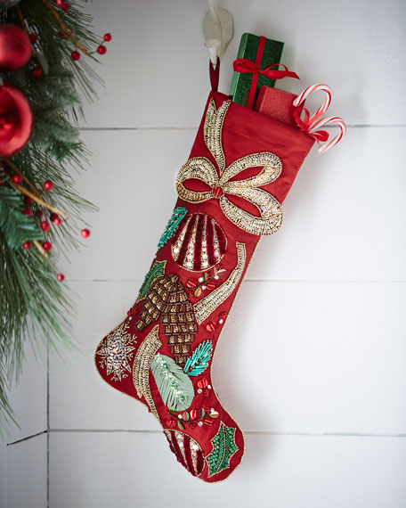 bright red christmas stocking