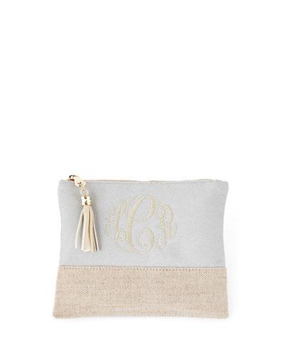 Gray Small Linen Pouch