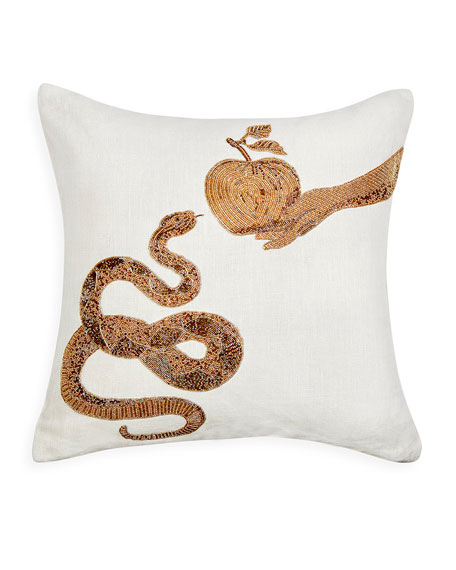 Jonathan Adler Muse Snake & Apple Pillow