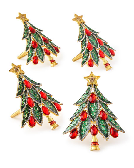Kim Seybert Christmas Tree Napkin Rings Set Of 4 Neiman