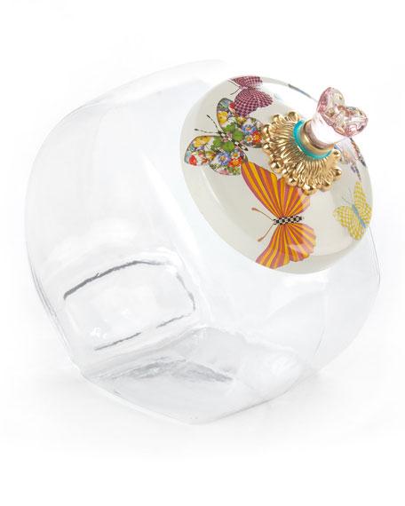 MacKenzie-Childs Cookie Jar with White Butterfly Garden Lid