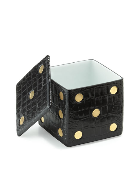 L'Objet Crocodile-Embossed Dice Decorative Box