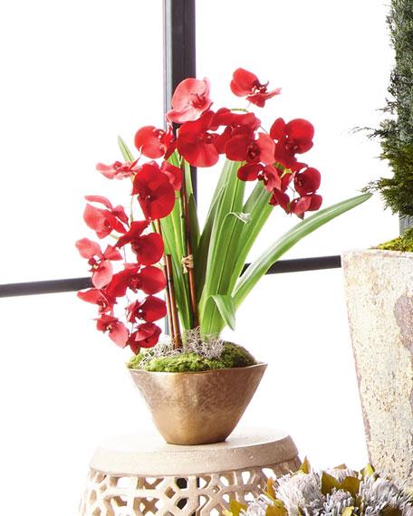 Caribbean Red Faux-Floral Arrangement