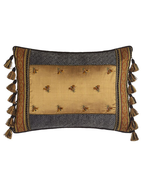 "Shangri-La Pillow with Embroidered Bees, 14"" x 29"""