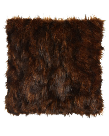 "Lantana Chocolate Faux-Fur Pillow, 22""Sq."