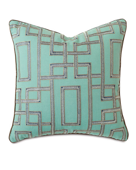 Barclay Butera Hudson Turquoise Pillow, 22
