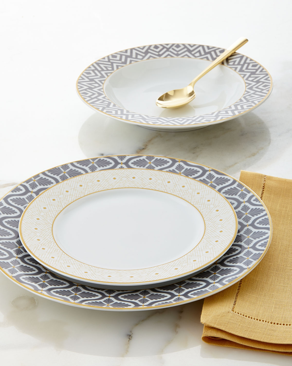 12-Piece Gray/Yellow Dinnerware Service & Microwave Safe Porcelain Dinnerware | Neiman Marcus