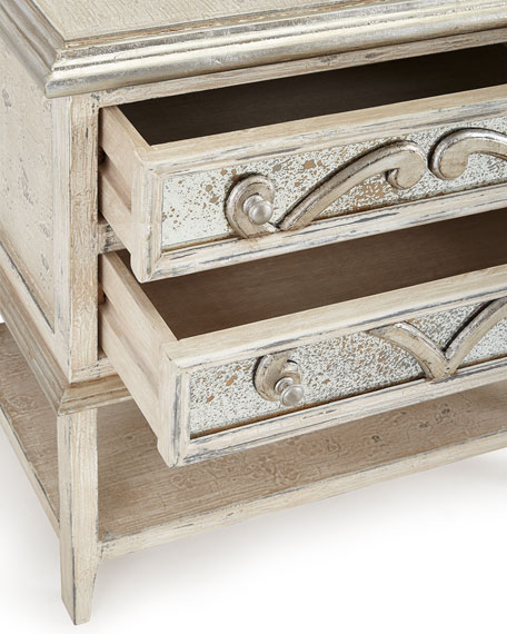 Lynley Mirrored-Accent Nightstand
