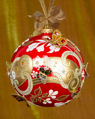 Floral Scroll Artisan Christmas Ornament