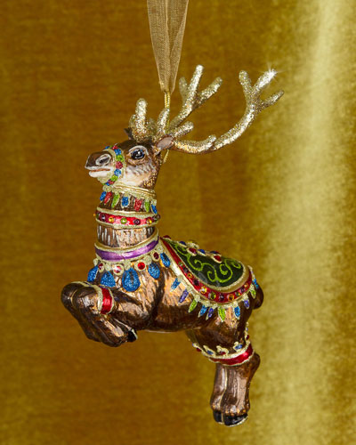 Dasher Reindeer Glass Christmas Ornament