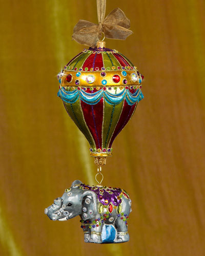 Balloon with Elephant Glass Christmas Ornament
