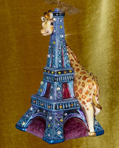 Eiffel Tower & Giraffe Christmas Ornament