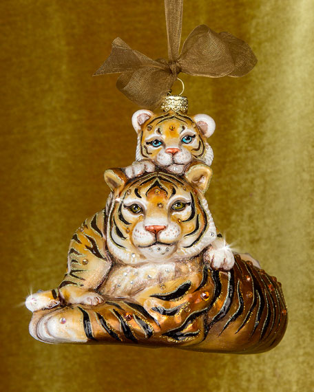 Jay Strongwater Mother & Baby Tiger Christmas Ornament