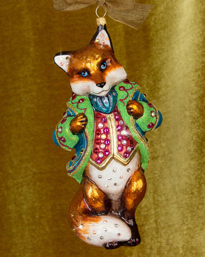 Jubilee Fox Glass Christmas Ornament