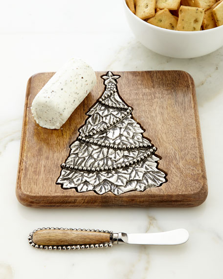 Mud Pie Small Tree Serving Board with Spreader