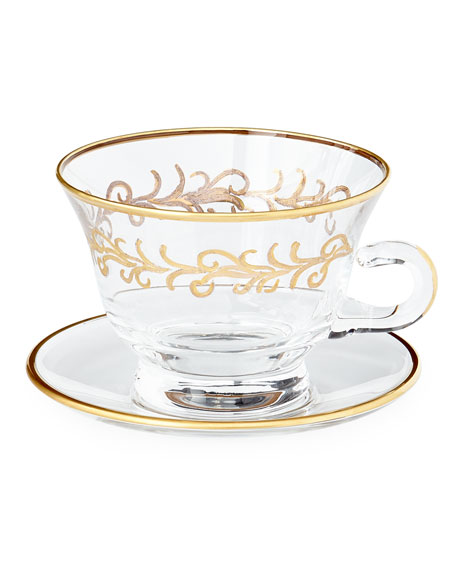 """""""Oro Bello"""" Cups & Saucers, Set of 4"""