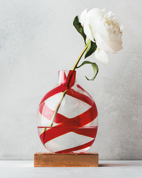 Single Flower Red Swirls Vase