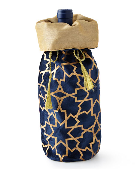 Divine Designs Sapphire & Gold Khari-Print Wine Bag