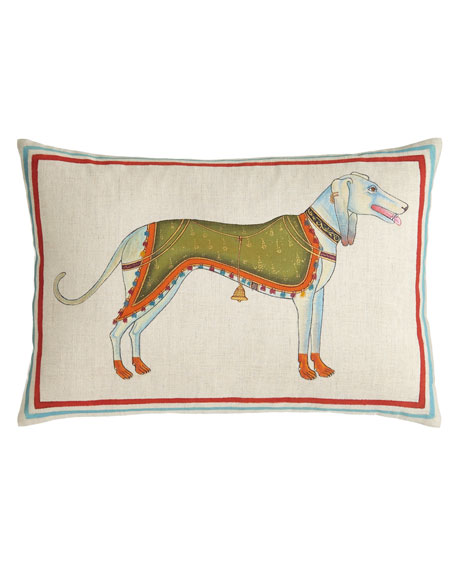"Hand-Painted Dog Pillow, 12"" x 18"""