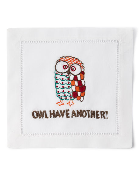 """""""Owl Have Another"""" Cocktail Napkins, Set of 4"""
