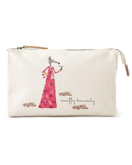 Muffy Pink Dress Large Personalized Cosmetic Bag