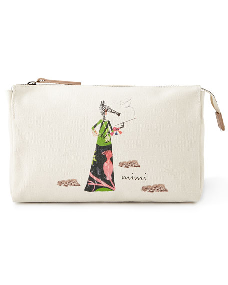 Muffy Takes Five Large Personalized Cosmetic Bag