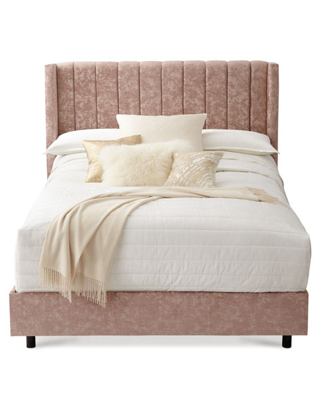 Lotus Channel-Tufted King Bed