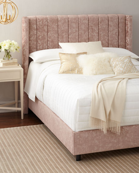Lotus Channel-Tufted Queen Bed