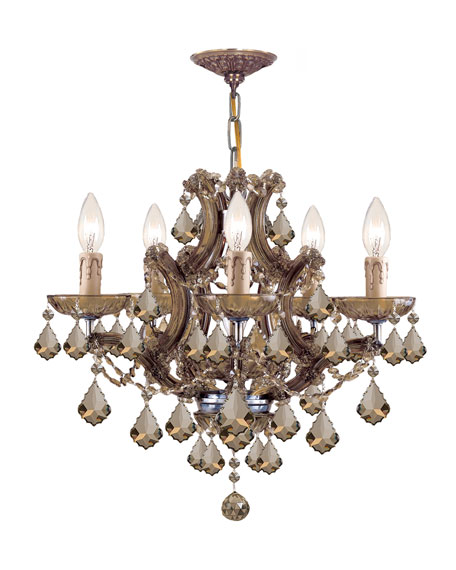 Crystorama Maria Theresa 6-Light Golden Teak Crystal Brass Chandelier