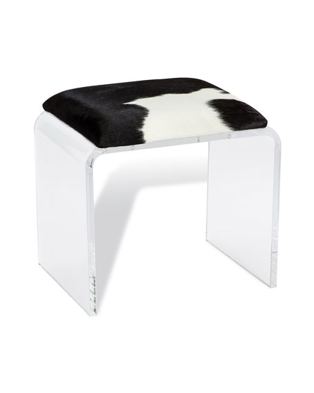 Interlude Home Boxer Acrylic & Hairhide Stool