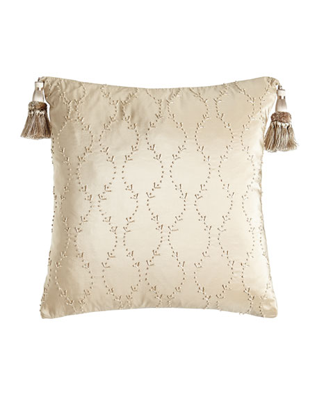"""Camelot Knotted Silk Pillow, 17""""Sq."""