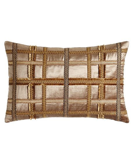 "Kamala Gimp-Plaid Pillow, 15"" x 22"""