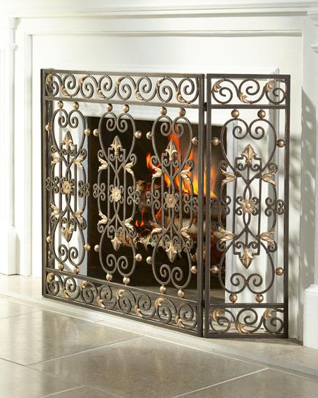 Three-Panel Fireplace Screen