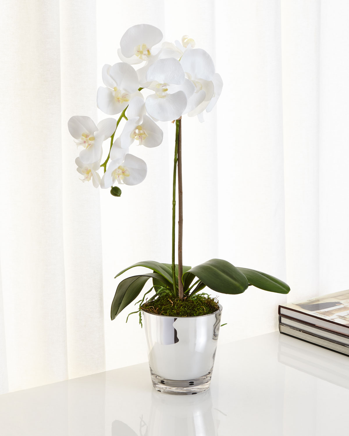 Glass faux floral decor neiman marcus quick look ndi orchids in mirrored glass faux floral arrangement reviewsmspy