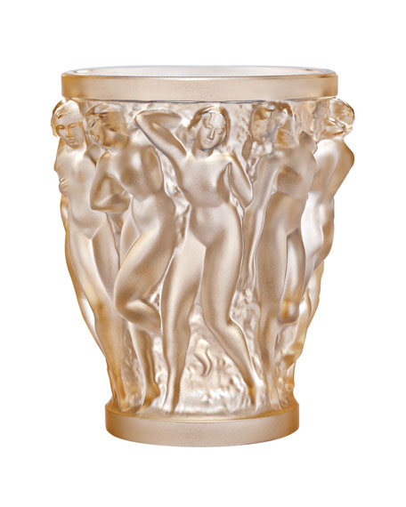 Lalique Bacchantes Small Gold-Luster Vase