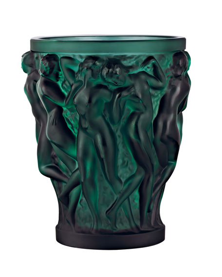 Lalique Bacchantes Small Green Vase