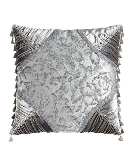 "Platinum Posey Pieced Pillow, 20""Sq."