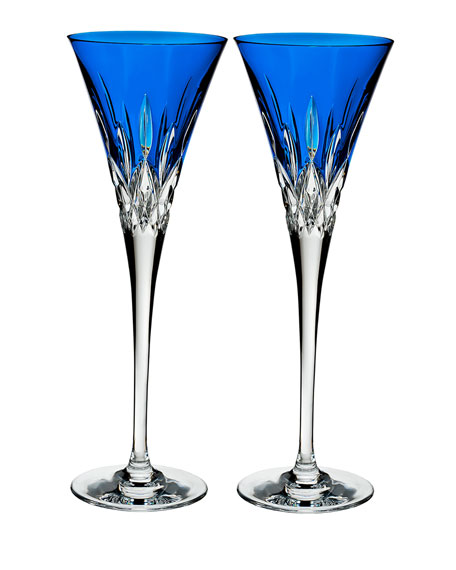 Lismore Pops Cobalt Toasting Flutes, Set of 2