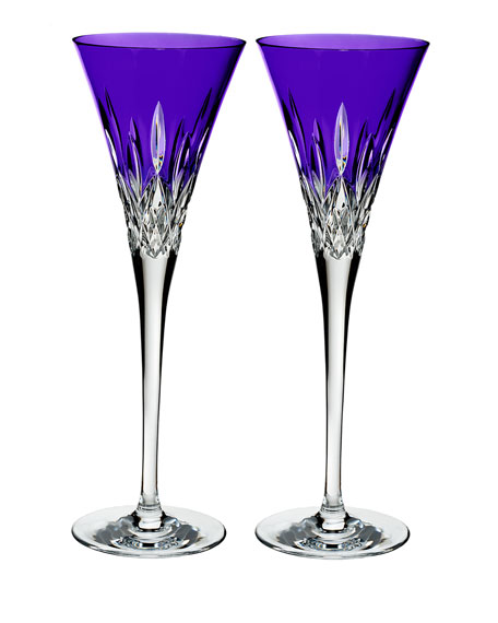Waterford Crystal Lismore Pops Purple Toasting Flutes, Set