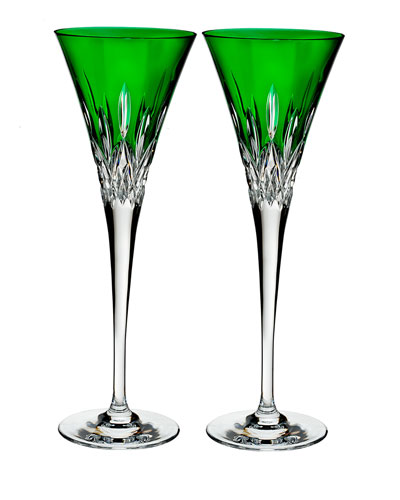 Lismore Pops Emerald Toasting Flutes, Set of 2