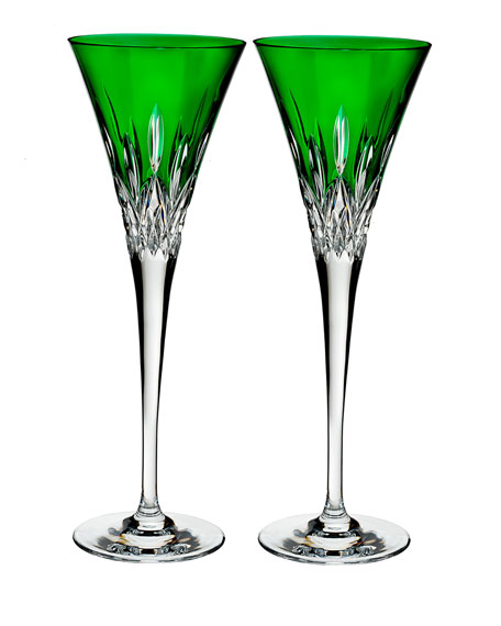 Waterford Crystal Lismore Pops Emerald Toasting Flutes, Set