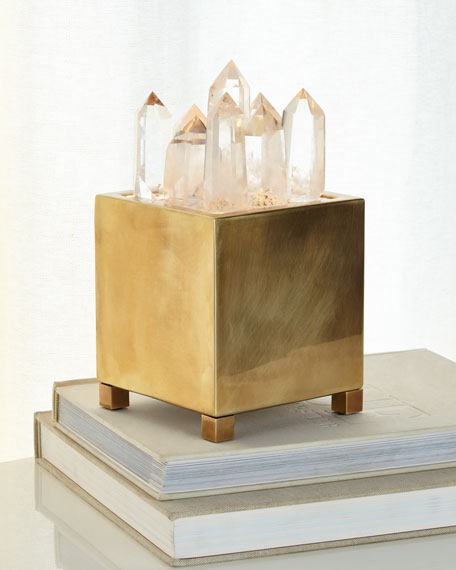 Clear Quartz & Brass Box with Light