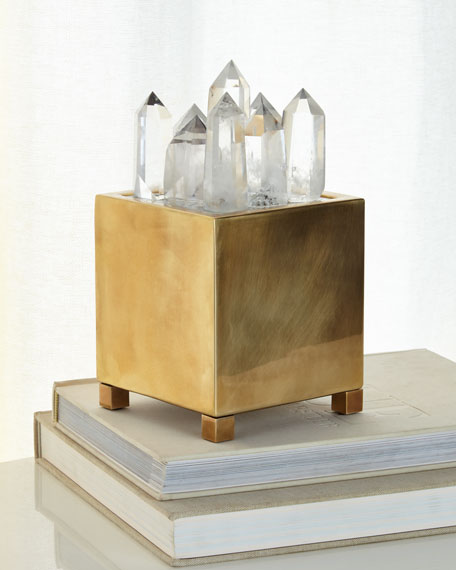 John-Richard Collection Clear Quartz & Brass Box with